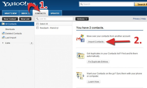 add facebook contacts to yahoo