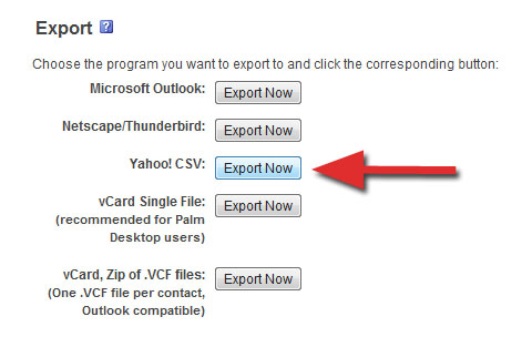 Yahoo csv format of exporting contacts