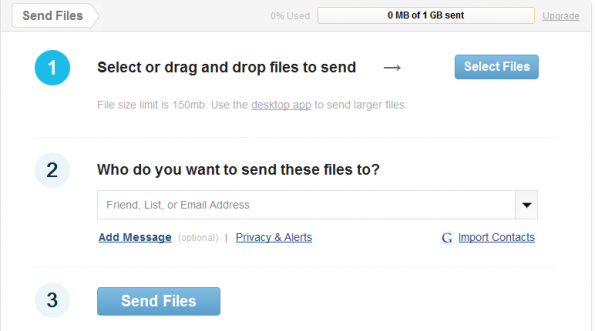 steps to send a file using kicksend