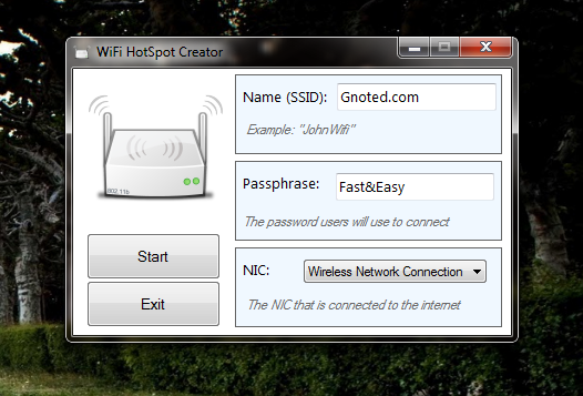 Share Wireless Connection From Your Laptop As a WiFi Hotspot