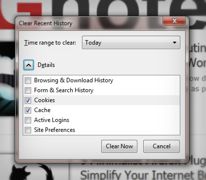 How to clear recent history in Firefox