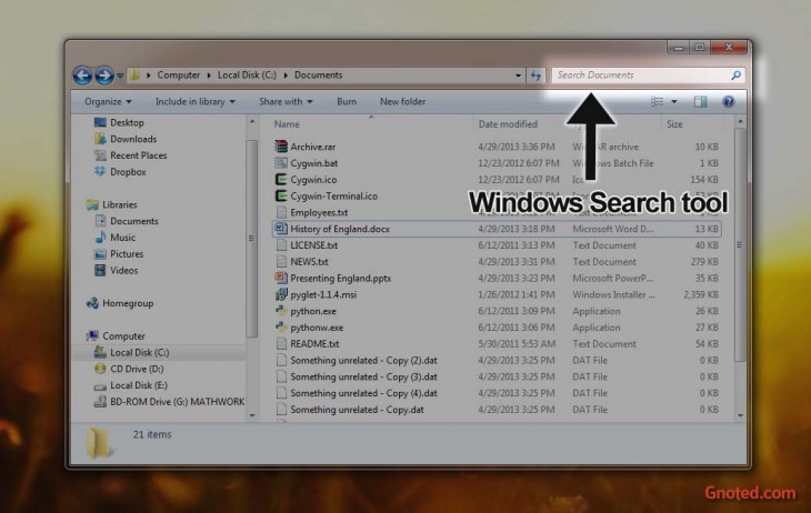 Windows 7 Search tool location
