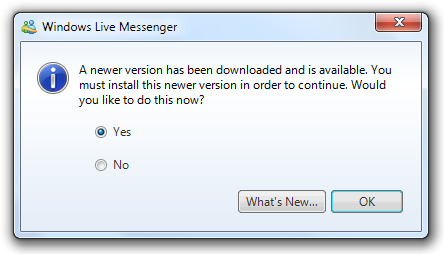 Windows Live Messenger Forced Update to Skype